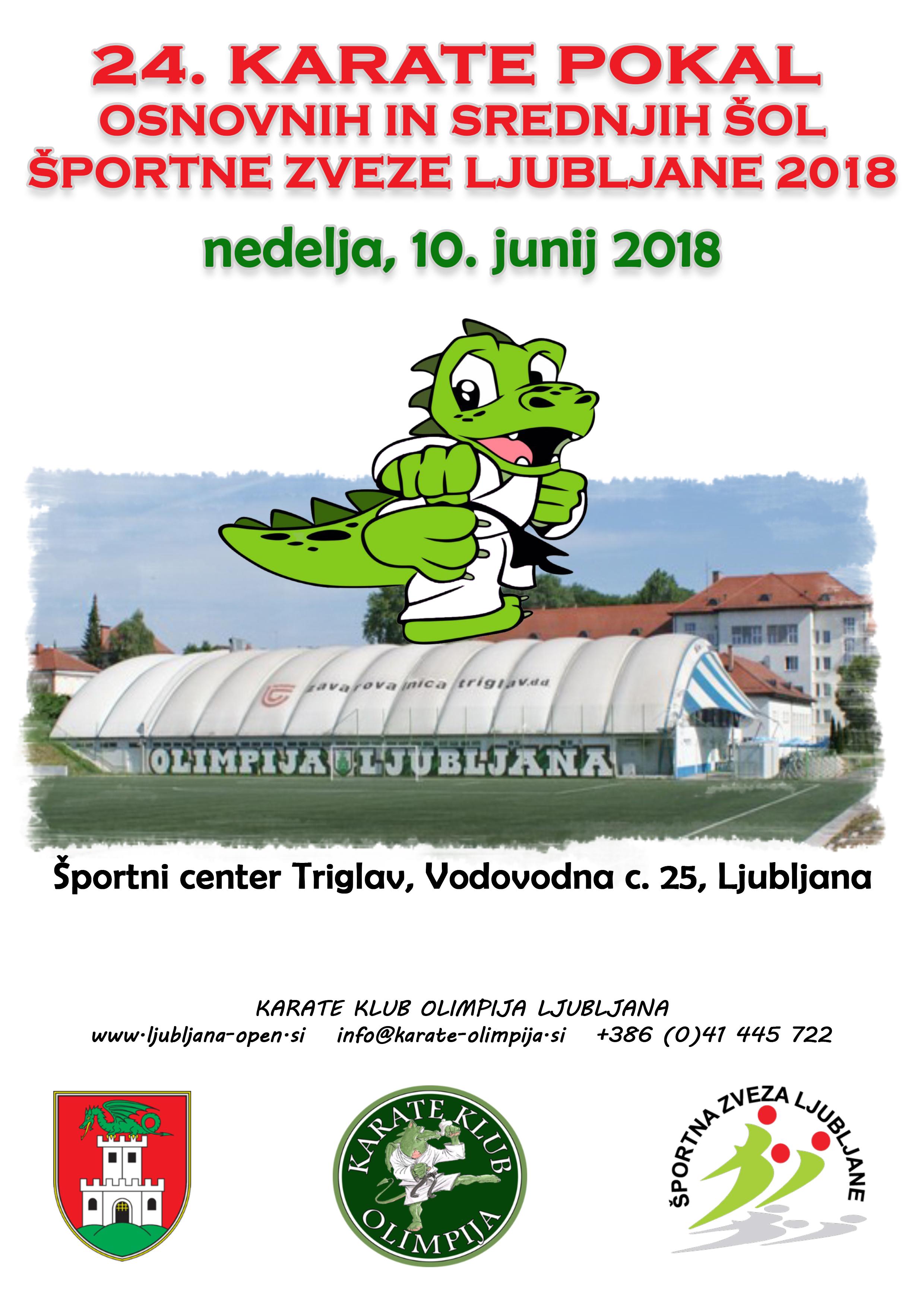 e-Karate.si - POKAL OSNOVNIH IN SREDNJIH ŠOL ŠPORTNE ZVEZE LJUBLJANE - Organizator : Karate Klub Olimpija Ljubljana